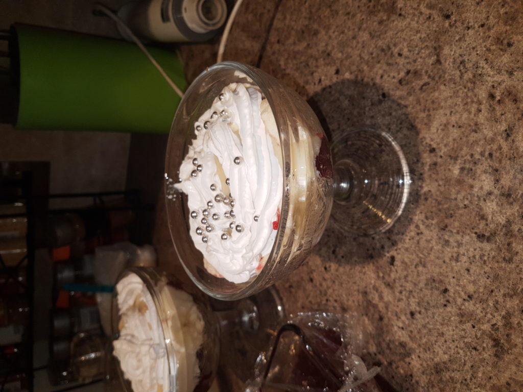 Glass bowl of trifle